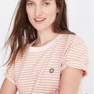 Madewell Smiley Face Embroidered Easy Crop Tee